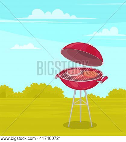 Round Barbeque On Stand With Red Bottom And Lid. Meat Is Fried On Hot Coals On Wire Rack Outdoors