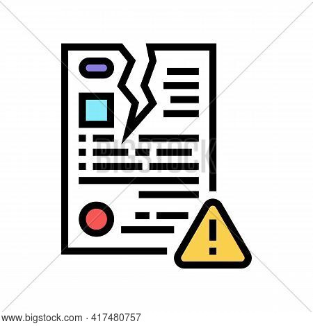 Breach Of Contract Law Dictionary Color Icon Vector. Breach Of Contract Law Dictionary Sign. Isolate