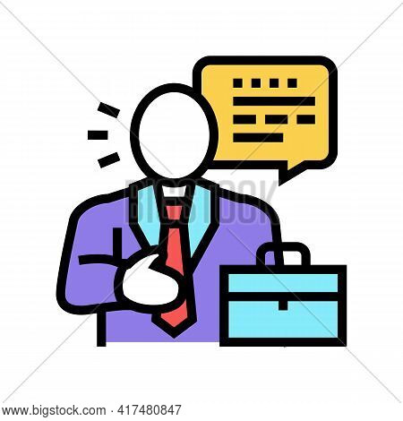 Lawyer Man Color Icon Vector. Lawyer Man Sign. Isolated Symbol Illustration