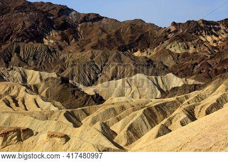 California / Usa - August 22, 2015: The Landscape And Rock Formations Around Zabriskie Point Near De
