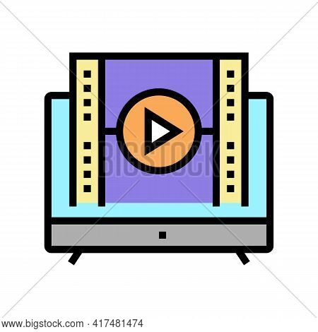 Watch Movie Mens Leisure Color Icon Vector. Watch Movie Mens Leisure Sign. Isolated Symbol Illustrat
