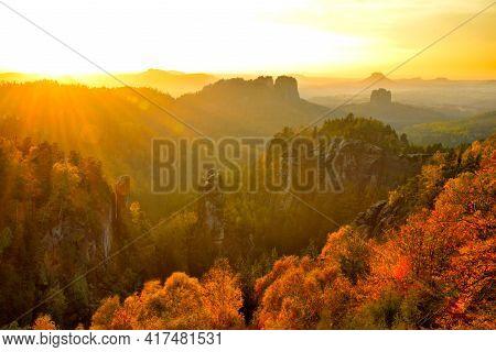 Saxon Switzerland Fairy Tale View From Carola Rock At Sunset