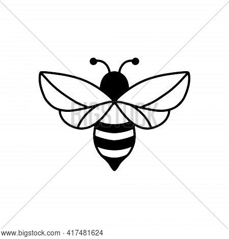 Bee Icon. Outline Drawing, Isolated On White Background.