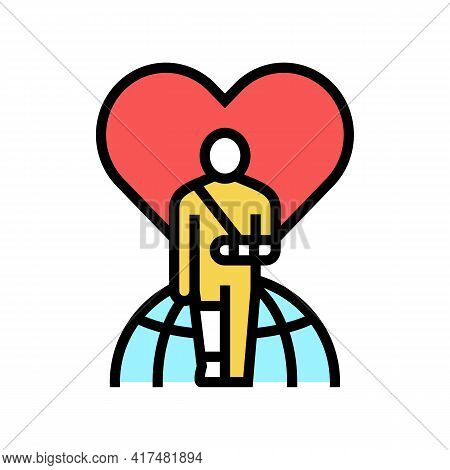 Invalid Patient Refugee World Help Color Icon Vector. Invalid Patient Refugee World Help Sign. Isola