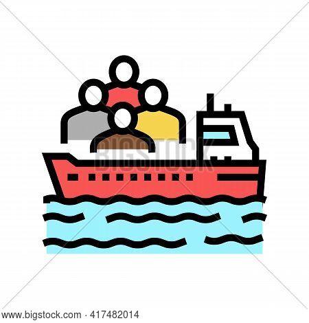 Ship Transportation Refugee Color Icon Vector. Ship Transportation Refugee Sign. Isolated Symbol Ill