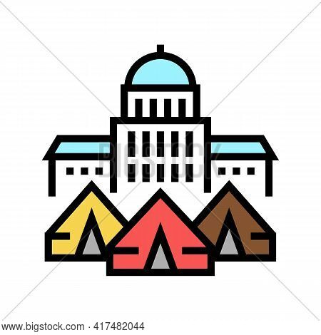 Government Building Refugee Campground Color Icon Vector. Government Building Refugee Campground Sig