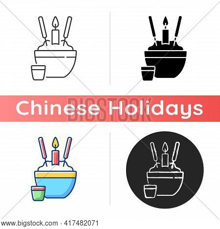 Rice Bowl Icon. Chinese Funeral Tradition. Upright Sticking Chopsticks. Tsukitate-bashi. Eating With