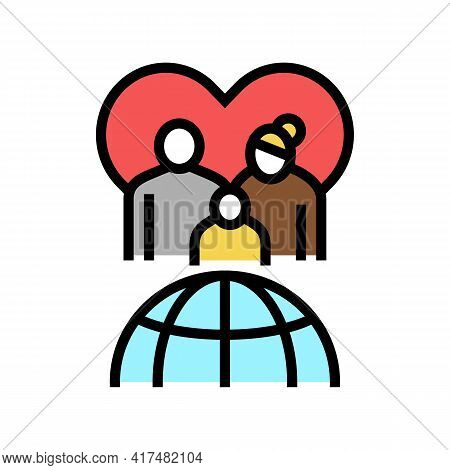 Family Refugee World Aid Color Icon Vector. Family Refugee World Aid Sign. Isolated Symbol Illustrat