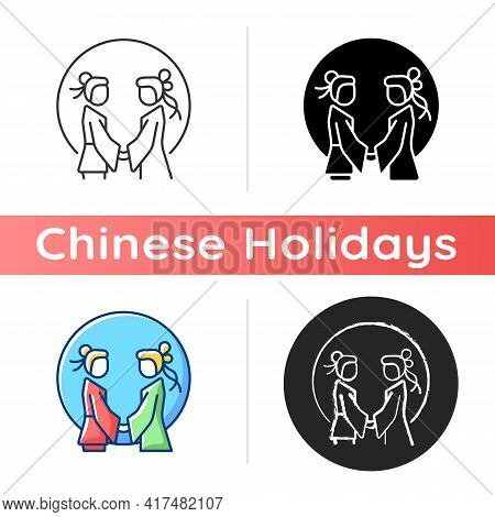 Double Seventh Festival Icon. Chinese Valentine Day. Eastern Equivalent. Romantic Legend. Annual Cow
