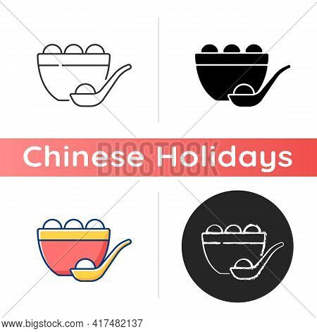 Tangyuan Icon. Glutinous Rice Dumpling. Winter Solstice Festival. Chinese Food. Making And Eating Gl