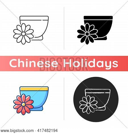 Chrysanthemum Tea Icon. Double Ninth Festival. Flower-based Infusion Drink. Traditional Medicine. Ch
