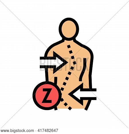 Z-shaped Scoliosis Color Icon Vector. Z-shaped Scoliosis Sign. Isolated Symbol Illustration