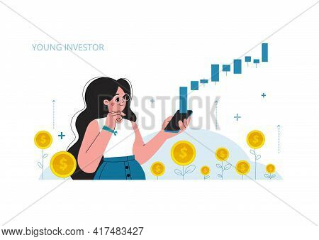 Young Woman With A Mobile Phone, Stock Market Investment, Growth, Rising Profit, Young Generation. V