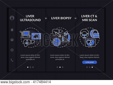 Liver Testing Onboarding Vector Template. Responsive Mobile Website With Icons. Web Page Walkthrough