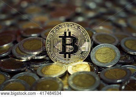 Group Of Thai Baht Coins And Bitcoin Figure, Digital Money Concept
