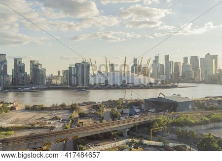 July 2020. London. Millenium Dome Or The The O2 Arena And The River Thames, London, England