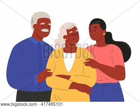 Portrait Of Happy Family Hugging Each Other. Adult Woman Embracing Mature Parents Or Grandparents Is