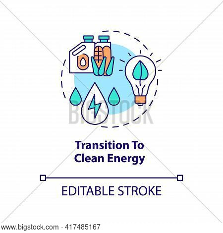 Transition To Clean Energy Concept Icon. Energy Industry Trend Idea Thin Line Illustration. Replacin