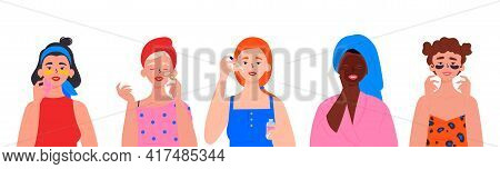 Beauty Routine. Beautiful Young Ladies. Various Spa Procedures. Cleansing, Moisturizing, Treating. F