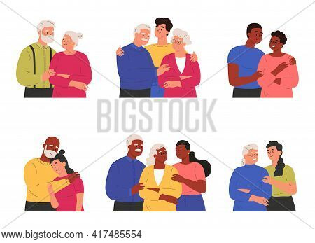 Collection Of Children Or Grandchildren With Parents And Grandparents.adult Man And Woman Embracing