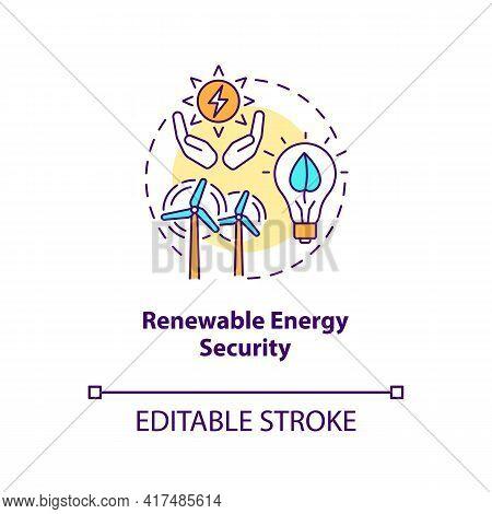 Renewable Energy Security Concept Icon. Security Type Idea Thin Line Illustration. Renewable Technol