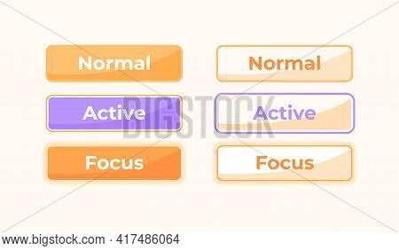 Active And Inactive Settings Ui Elements Kit. Option Tabs Isolated Vector Icon, Bar And Dashboard Te