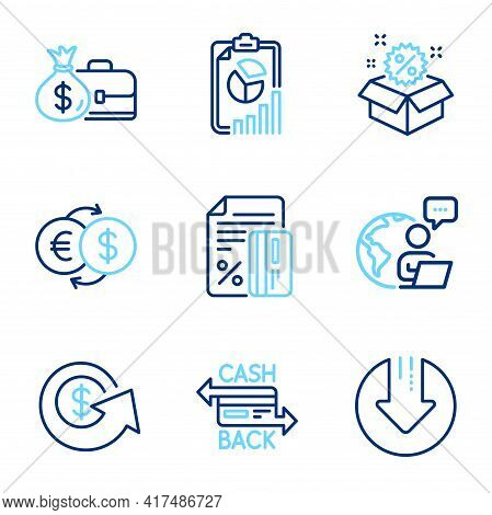 Finance Icons Set. Included Icon As Salary, Sale, Credit Card Signs. Money Exchange, Cashback Card,
