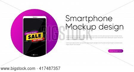 Sale 50 Percent Off Banner. Phone Vector Mockup Banner. Discount Sticker Shape. Hot Offer Icon. Smar