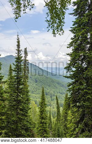 Mountain Altai, A Picturesque View From The Observation Deck On Mount Malaya Sinyukha