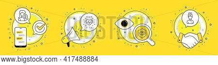 Moisturizing Cream, Eye Protection And Heartbeat Line Icons Set. Cell Phone, Megaphone And Deal Vect