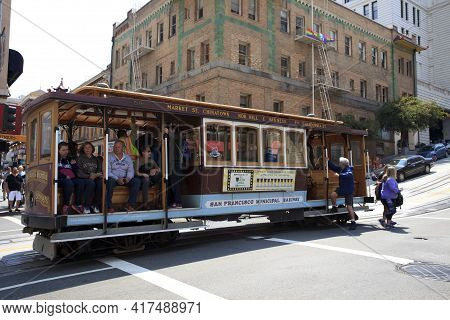 San Francisco, California / Usa - August 25, 2015: A Cable Car In San Francisco City, San Francisco,