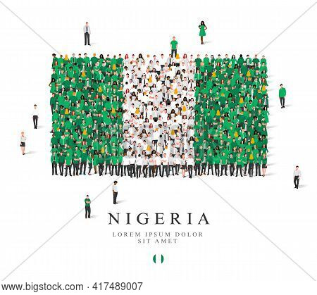 A Large Group Of People Are Standing In Green And White Robes, Symbolizing The Flag Of Nigeria. Vect