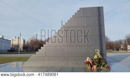Warsaw, Poland 03.16.2020 - Coronavirus Warsaw Smolensk Catastrophe Monument. Smolensk Monument On P
