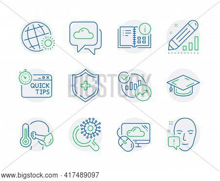 Science Icons Set. Included Icon As Instruction Info, Medical Shield, Graduation Cap Signs. World We