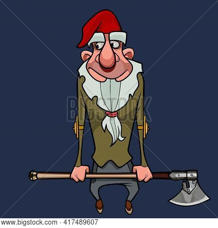 Friendly Cartoon Bearded Gnome In A Red Cap Holding An Ax With His Hands