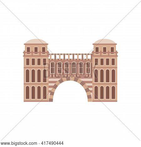 Roman Medieval Historical Building, Flat Cartoon Vector Illustration Isolated.