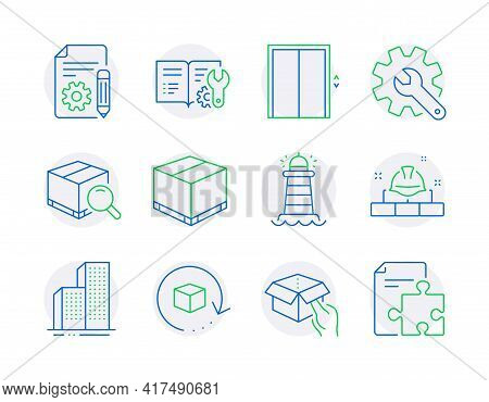 Industrial Icons Set. Included Icon As Hold Box, Lift, Engineering Documentation Signs. Lighthouse,