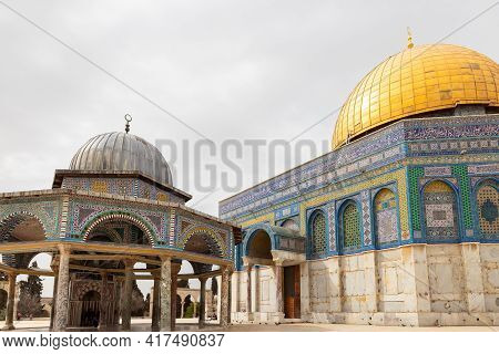 The Al Othmania Dome And Tthe Dome Of The Rock Mosque Are On The Temple Mount In The Old Town Of Jer