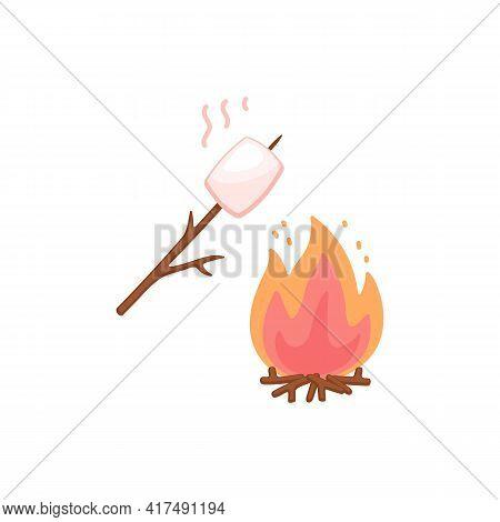 Marshmallow On Stick Roasting On Bonfire, Flat Vector Illustration Isolated.