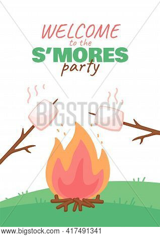 Invitation Card Design Template For Smores Party, Cartoon Vector Illustration.