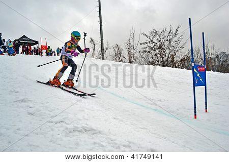 Kiev - Feb 01: Young Ski Sportsman In Protasov Yar During Ski Competition Organized By Foxtrot Super