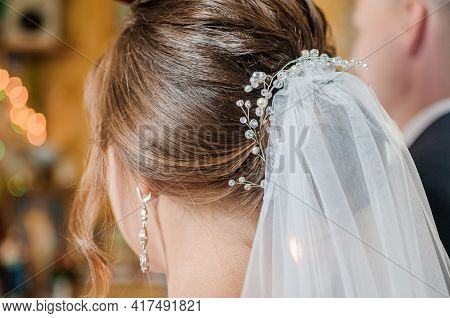 Wedding Hair Jewelry. Wedding Hair Wreath. Diadem. Decoration For The Bride