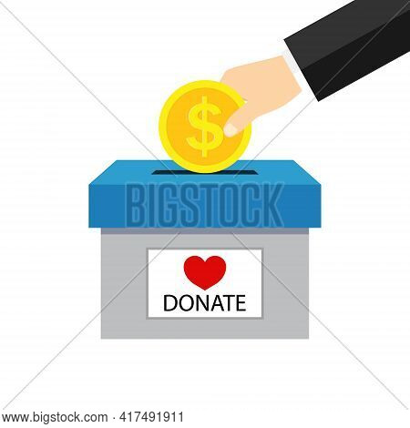 Money Box For Charity Donate. Hand Giving Coin For Charity Help. Campaign Of Fundraising For Donate.