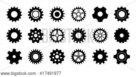 Gear Icon. Cogwheel For Industry. Gearwheel Of Engine. Circle Wheel With Cogs For Machinery. Set Of
