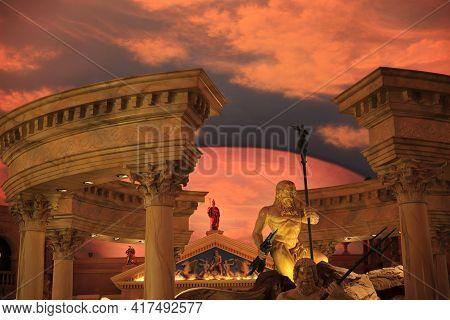 Las Vegas, Nevada / Usa - August 27, 2015: Cesars Palace Hotel Inside In Las Vegas, Nevada, Usa