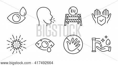 Eu Close Borders, Washing Hands And Eye Drops Line Icons Set. Coronavirus, Do Not Touch And Insuranc