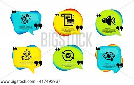 Loud Sound, Approved And Payment Card Icons Simple Set. Speech Bubble With Quotes. Payment Method, J
