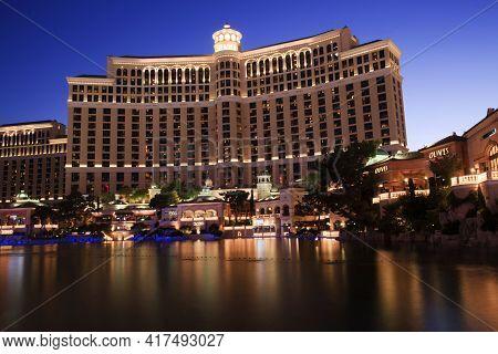 Las Vegas, Nevada / Usa - August 27, 2015: Bellagio Hotel In Las Vegas, Nevada, Usa
