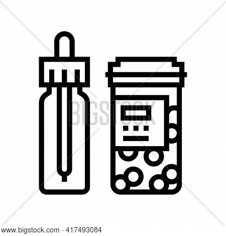 Vitamin Homeopathy Package With Pipette Line Icon Vector. Vitamin Homeopathy Package With Pipette Si