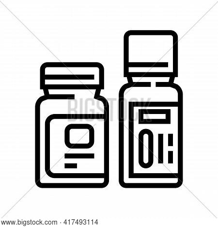Bottles With Homeopathy Medical Drug Line Icon Vector. Bottles With Homeopathy Medical Drug Sign. Is